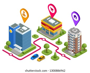 Isometric the way work shop house concept. Vector illustration