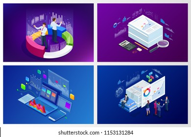 Isometric web banner Data Analisis and Statistics concept. Vector illustration business analytics, Data visualization. Technology, Internet and network concept. Data and investments.