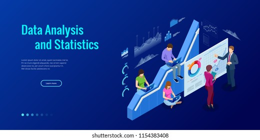 Isometric web banner Data Analysis and Statistics concept. Vector illustration business analytics, Data visualization. Technology, Internet and network concept. Data and investments.