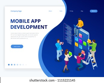 Isometric web banner mobile app development concept. Mobile technology operating system creative process visualization. User experience.