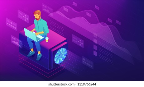 Isometric web developer concept. Blockchain freelance front end and back end programmer with laptop, global development, coding illustration on ultraviolet background. Vector 3d isometric illustration