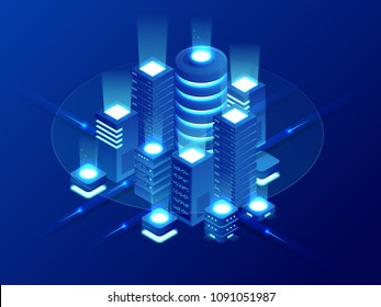 Isometric Web hosting, data backup copy, recover file concept, cloud data storage, digital technology, blockchain, server room. Internet traffic routing, server room rack vector technology