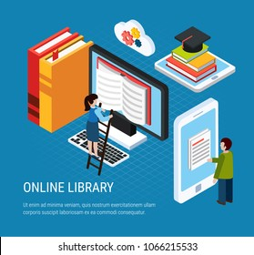 Isometric webinar colored composition online library headline and abstract elements associated with books and learning vector illustration