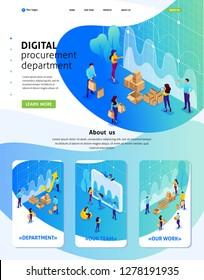 Isometric Website Template Landing page concept of digital procurement, marketing research, teamwork. Adaptive 3D