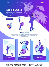 Isometric Website Template Landing page Big businessman running the world, world map. Adaptive 3D.