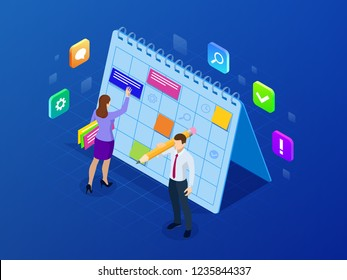 Isometric weekly schedule and calendar planner organization management. Online business workflow, time management, planning, task app, teamwork and meeting. Vector illustration