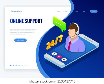 Isometric wen banner with Online supportconcept. Support service help assistance guidance. Call center agent browsing. Flat male support and client service staff worker.