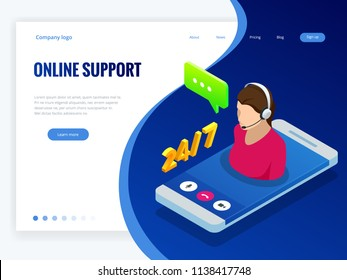 Isometric wen banner with Online supportconcept. Support service help assistance guidance. Call center agent browsing. Flat female support and client service staff worker.