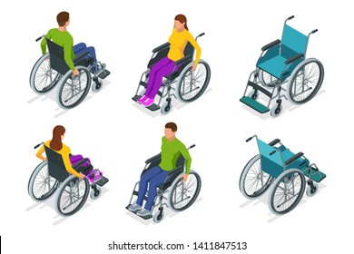 Isometric Wheelchair isolated. Man and Woman in Wheelchair. Medical support equipment. Health care concept.