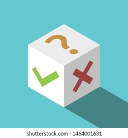 Isometric white cube with check mark, cross and question on turquoise blue. Yes, no, maybe choice and uncertainty concept. Flat design. Eps 8 vector illustration, no transparency, no gradients