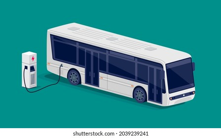 Isometric white electric city bus charging parking at the charger station with a plug in cable. Flat vector illustration of public transportation car. Electrified transport future mobility e-motion.