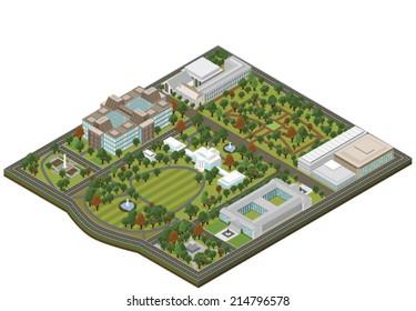Isometric White House - Vector clip art illustration on white background