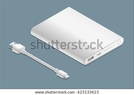 Isometric white power bank with micro-USB cable illustration.