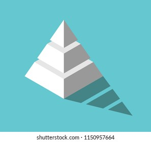 Isometric white pyramid with three levels and drop shadow on turquoise blue background. Hierarchy, structure and development concept. Flat design. Vector illustration, no transparency, no gradients