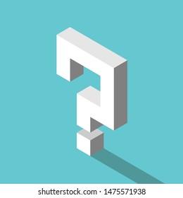 Isometrisches weißes Fragezeichen mit langem Schatten auf türkisblauem Hintergrund. Problem, Zweifel, Verwirrung, Unentschlossenheit, Hilfe und Support Konzept. Flaches Design. EPS 8 Vektorgrafik, keine Transparenz, keine Farbverläufe