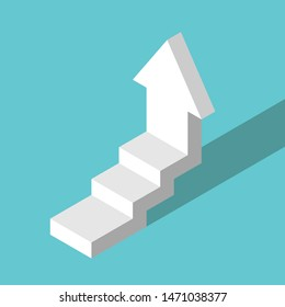 Isometrisches Weiß trat senkrechte Pfeil hoch. Wachstum, persönliche Entwicklung, Motivation, Leistung und Ehrgeiz Konzept. Flaches Design. EPS 8 Vektorgrafik, keine Transparenz, keine Farbverläufe