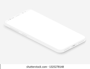Isometric white vector smartphone. 3d realistic empty screen phone template for inserting any UI interface, test or business presentation. Perspective view floating soft mock up design.