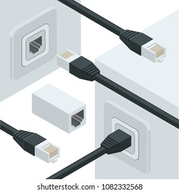 Isometric white wireless wi-fi router with  network internet data connectors. Flat design icon for high speed internet connection.
