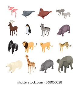 Isometric wild animals isolated on white background. Set of wild animals from various climatic zones. Vector illustration.