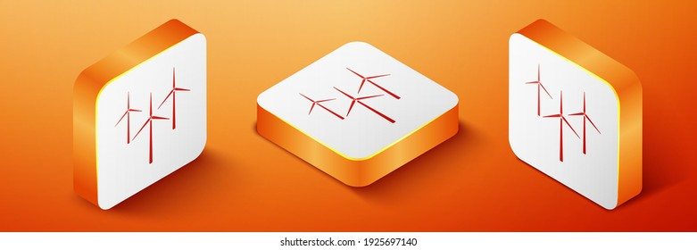Isometric Wind turbine icon isolated on orange background. Wind generator sign. Windmill silhouette. Windmills for electric power production. Orange square button. Vector