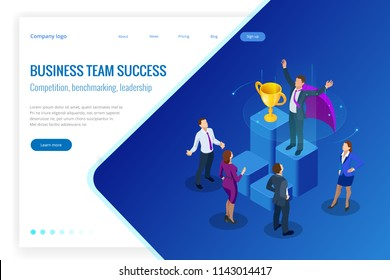 Isometric winner business and achievement concept. Business success. Big trophy for businessmen.