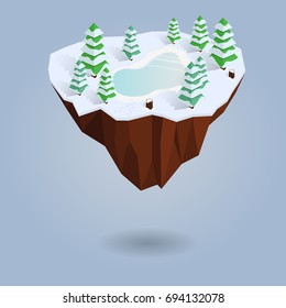 Isometric winter floating island isolated on the background. Low-poly christmas tree and lake. Polygonal 3d design or infographic element with shadow. Vector illustration. Eps10.