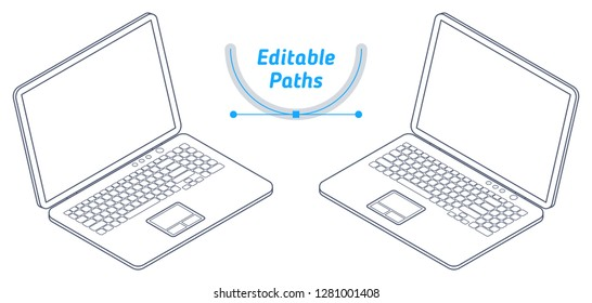 The isometric wireframe model of office laptop set. The outline 3d illustration with editable paths. The technical drawing of business portable computer. The mobile pc with keyboard, screen, touchpad.