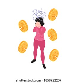 Isometric woman character with panic attack and cracked coins 3d vector illustration