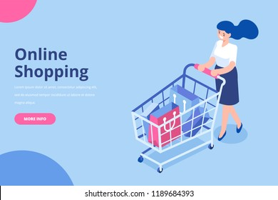 Isometric woman with shopping cart. Shopping and  Supermarket concept. Flat vector isolated  illustartration.
