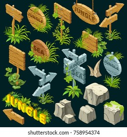 Isometric wooden frame set on dark background. Boards decorated with leaves in jungle style. Text and stones for the design of games. Isolated vector illustration.
