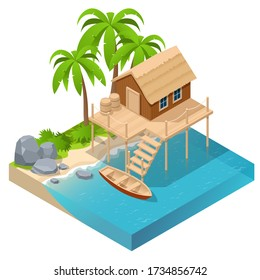 Isometric wooden house by the sea near palm trees. Stilt house. Wooden tropical home on stilts over water