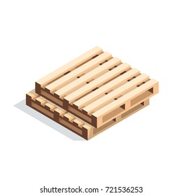 Isometric wooden pallets. A stack of pallet isolated on white background. Vector illustration.
