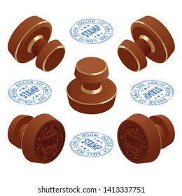 Isometric Wooden round rubber stampers and stamps with text. Set of stamps isolated on white background