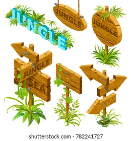 Isometric wooden sign set on white background. Boards decorated with leaves in jungle style. Isolated vector illustration.