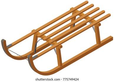 Isometric Wooden Sled