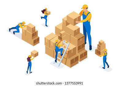 Isometric The work of movers in the warehouse, placing boxes, collecting goods. Concept for web design.