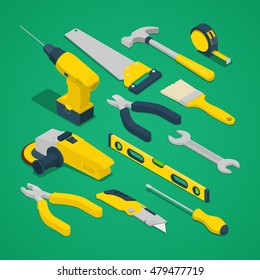 Isometric Work Tools Set with Drill Screwdriver Level and Hammer. Vector illustration