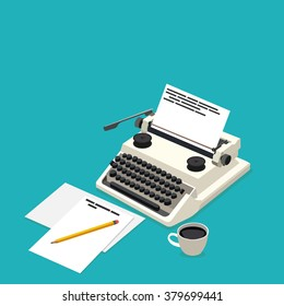 isometric workplace writer in vector format eps10