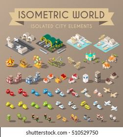 Isometric World. Set of Isolated Minimal City Elements.