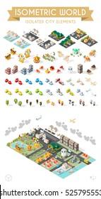 Isometric World. Set of Isolated Minimal City Elements.