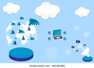 isometric world wifi and icon technology social network flat style