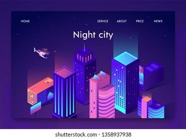 Isometric is Written Night City Landing Page. Buildings are Illuminated with Bright Light, Helicopter Flies Sky. Technologies are Integrated into Structures, Cost Reduction and Resource Consumption.