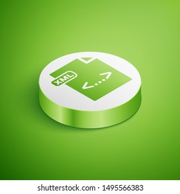 Isometric XML file document. Download xml button icon isolated on green background. XML file symbol. White circle button. Vector Illustration