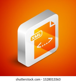 Isometric XML file document. Download xml button icon isolated on orange background. XML file symbol. Silver square button. Vector Illustration