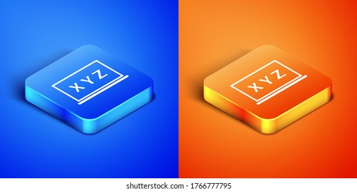 Isometric XYZ Coordinate system on chalkboard icon isolated on blue and orange background. XYZ axis for graph statistics display. Square button. Vector