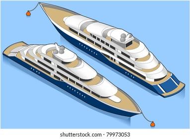 Isometric Yacht Anchored.