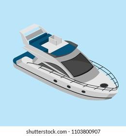 isometric yacht, simple vector illustration