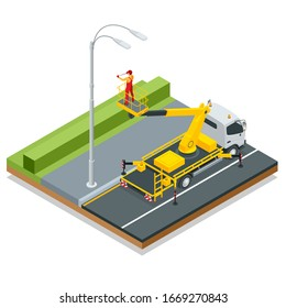 Isometric Yellow Engine Powered Scissor Lift. Worker with the help of an automobile tower change repairing a street pole.