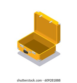 Isometric yellow open travel bag