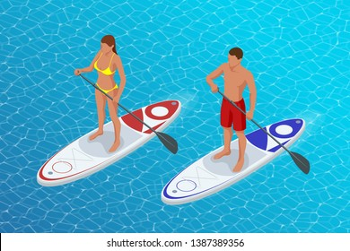Isometric young couple practicing stand up paddleboard or SUP. The adventure of the sea with blue water on surfing. SUP Board.